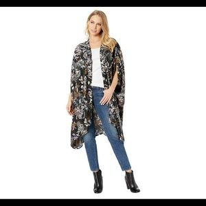 BCBG Black Floral Kimono new with tags